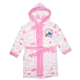 The Smurfs Kids Bathrobe - White & Pink