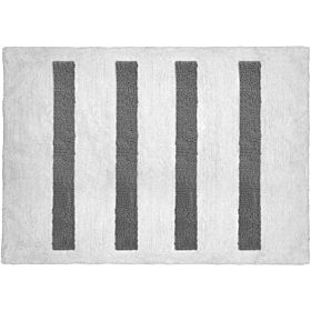 Cozy 4 Columns Cut and Loop Pile Bath Mat, White and Gray, Size 50cm x 80cm