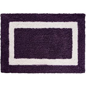 Cozy Simple Border High Cut Pile Bath Mat, Purple, Size 50cm x 80cm