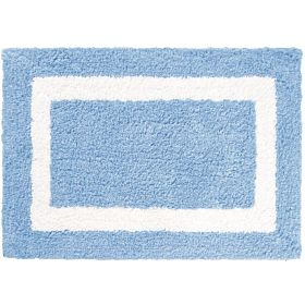 Cozy Simple Border High Cut Pile Bath Mat, Light Blue, 60cm x 90cm