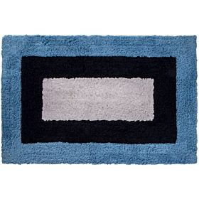 Cozy Wide Border Cut Pile Bath Mat, Blue and Navy, 60cm x 90cm