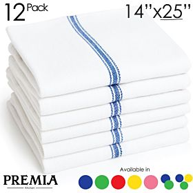 Premia Kitchen Economy Pack 24oz Cotton Dish Towels, 14 x 25-inches, Blue, 12-Pack