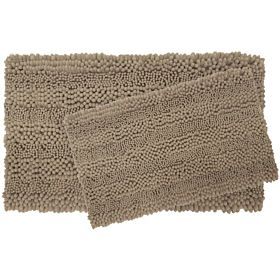 Laura Ashley Astor Striped Plush Chenille 2-Piece Bath Mat Set, Linen