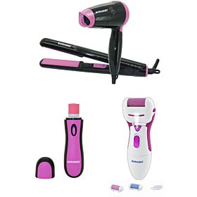 Sonashi SNB-001 Electronic Nail Buffer + Sonashi SCR-002 Callous Remover + Sonashi SBS-200 Travel Hair Dryer & Straightener Set