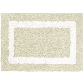Cozy Simple Border High Cut Pile Bath Mat, Off White, 50cm x 80cm