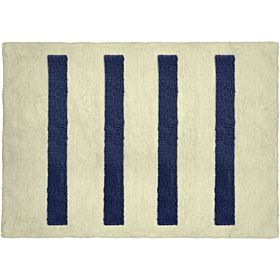 Cozy 4 Columns Cut and Loop Pile Bath Mat, Off White and Navy, size 60cm x 90cm
