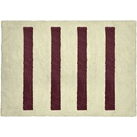Cozy 4 Columns Cut and Loop Pile Bath Mat, Off White and Burgundy, 60cm x 90cm