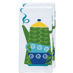"T-fal Textiles Double Sided Print Woven Cotton Kitchen Dish Towel Set, 2-pack, 16"" x 26"", Tea Kettle Print"