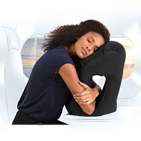 Novo Synthetic Black Free Size Inflatable Travel Pillow - 1 Piece