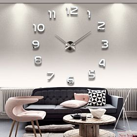 Stylish Large Diy Quartz 3d Wall Clock Acrylic Sticker Wall Clock - 015 Black
