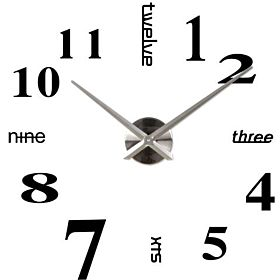 Stylish Large Diy Quartz 3d Wall Clock Acrylic Sticker - 015 Black