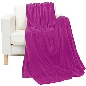 Flannel Fleece Blanket king size, Purple