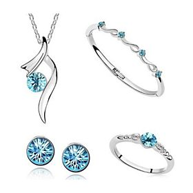 Elegant Silver Plated Austrian Crystal Necklace, Earring, Ring and Bracelet Set [HKT037]