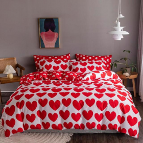 DEALS FOR LESS - King Size, Duvet Cover, Bed Sheet Set of 6 Pieces, Red Heart Design, 1 Duvet cover + 1 Fitted bedsheet + 4 pillow covers.