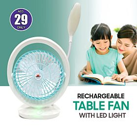 JR Rechargeable Table Fan with LED Light