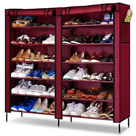 Double Door Shoe Rack Organizer - Red