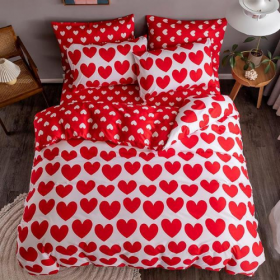 DEALS FOR LESS - Single Size, Duvet Cover, Bed Sheet Set of 4 Pieces, Red Heart  Design, 1 Duvet cover + 1 Fitted bedsheet + 2 pillow covers
