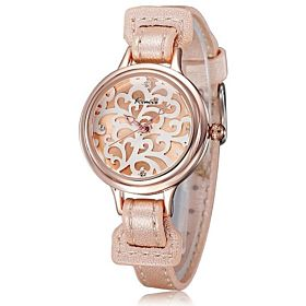 Kimio Casual Analog Leather Watch For Women Gold - KW215
