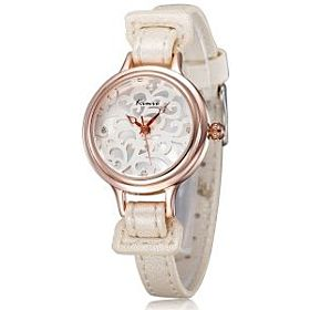 Kimio Casual Analog Leather Watch For Women White - KW215