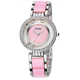 Kimio Ladies Dancing Zircon Dial Quartz Watch Pink KMP108