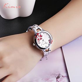 Kimio Women's Floral Red White Dial Fashion Watch