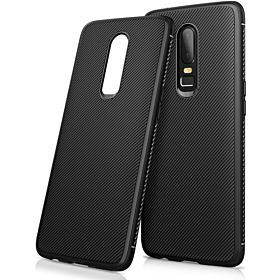 For Oneplus 6 Case One Plus 6 Cover Luxury Twill Soft TPU Silicone Back Phone Cases Oneplus6 Phone Cover For Oneplus6 1+6 Soft TPU Business Skin Black