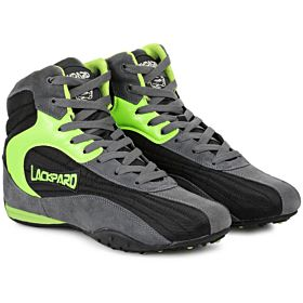 Lackpard Dark Grey and Neon Green Fashion Sneakers For Men