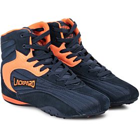 Lackpard Navy Blue & Orange Fashion Sneakers For Men