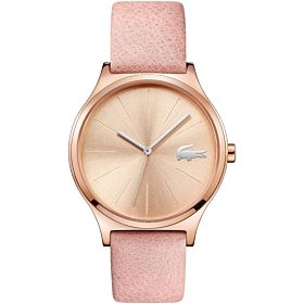 Lacoste Women's Gold Dial Leather Band Watch - 2001014