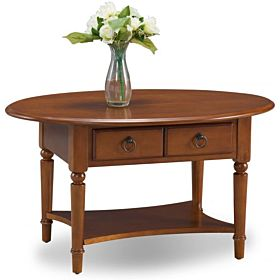 Leick 20044-PC Coastal Oval Coffee Table with Shelf, Pecan