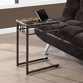 Monarch Specialties Bronze Metal and Cappuccino Marble Snack/End Table