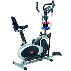 Marshal Fitness Multi Exercise 4 in 1 Orbitrac Exercise Bike with Back Support Seat Dumbbell and Twister