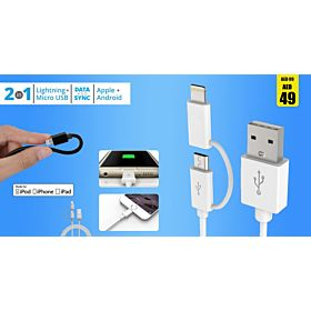 Micro USB cable with lightning connector 1 meter, Charge and sync cable