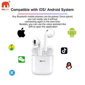 Mione Bluetooth Earpods with wireless charging technology supports iPhone and android White color