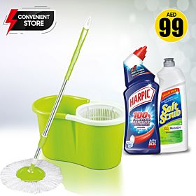 ROYALFORD Optimistic Spin Easy Mop, Harpic Toilet Cleaner, Soft Scrub All Purpose Cleaner With Bleach