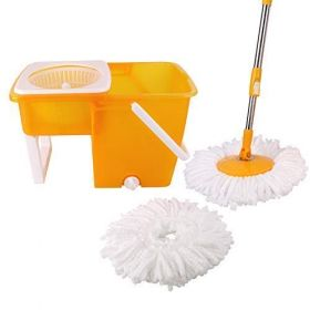 CLASSY TOUCH High Grade Plastic Compact Folding Bucket Mop with 360 Degree Spinner Stick
