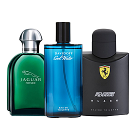 3 in 1 Bundle Offer Davidoff Scuderia Ferrari Black for Men, edT 125ml by Ferrari + Cool Water for Men, edT 75ml by Davidoff + Jaguar by Jaguar for Men - Eau de Toilette, 100ml