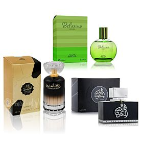 Lattafa Al Dur Al Maknoon - perfume for men - Eau de Parfum, 100ml + Lattafa Urooq Al Oud, Perfume for Unisex, EDP, 100ml + Aris Belissimo 100ml