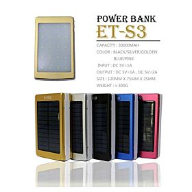 E-top 30,000 mAh Solar Power Bank with LED Light For All Smartphones & Tablets, ET-S3