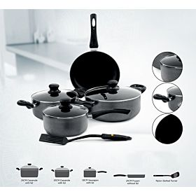 Royalford 8-Piece Cookware Set Black RF4999