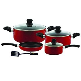 Royalford 8-Piece Non-Stick Cookware Set Red RF6082