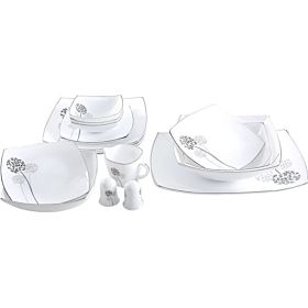 Royalford Daisy Hard Square Dinnerware Set - 29 Pieces RF8614
