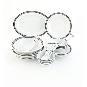 Royalford RF6723 Dinner Set, White 27 pieces