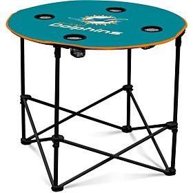 Logo Brands Miami Dolphins Collapsible Round Table with 4 Cup Holders and Carry Bag