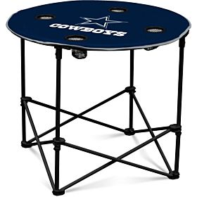Logo Brands Dallas Cowboys Collapsible Round Table with 4 Cup Holders and Carry Bag