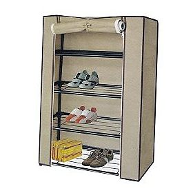 Shoe Organizer Cabinet With Racks, Beige
