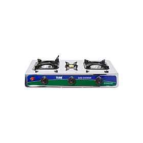 3 Burner Gas stove TGC-132 Stainless Steel Thick body Gas Stove with auto ignition and whirl wind focus flame.
