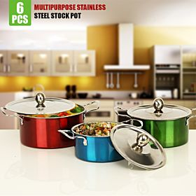 6 Pcs Multipurpose Stainless Steel Stock Pot - PC28