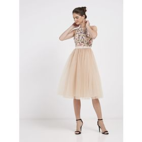 TFNC London Cydney Embellished Design Midi Dress Peach CTT 69470