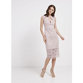 TFNC London Veronica Lace Detailed Midi Dress Pink CTT 73270